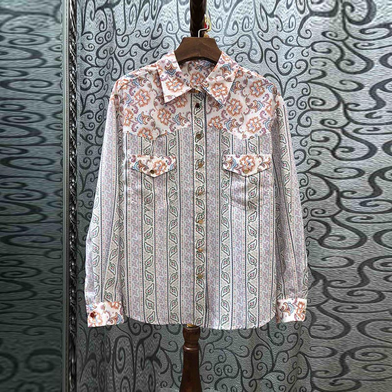 Nouveau 2019 automne hiver femmes filles imprimé floral coton chemises patch poches à manches longues simple boutonnage marque hauts et chemisiers