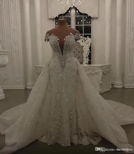 Image 2 - Robe de mariée moderne en dentelle, robes de mariée sirène en dentelle et perles, cristaux brillants, avec application, col montant, robes de mariée de Mariage