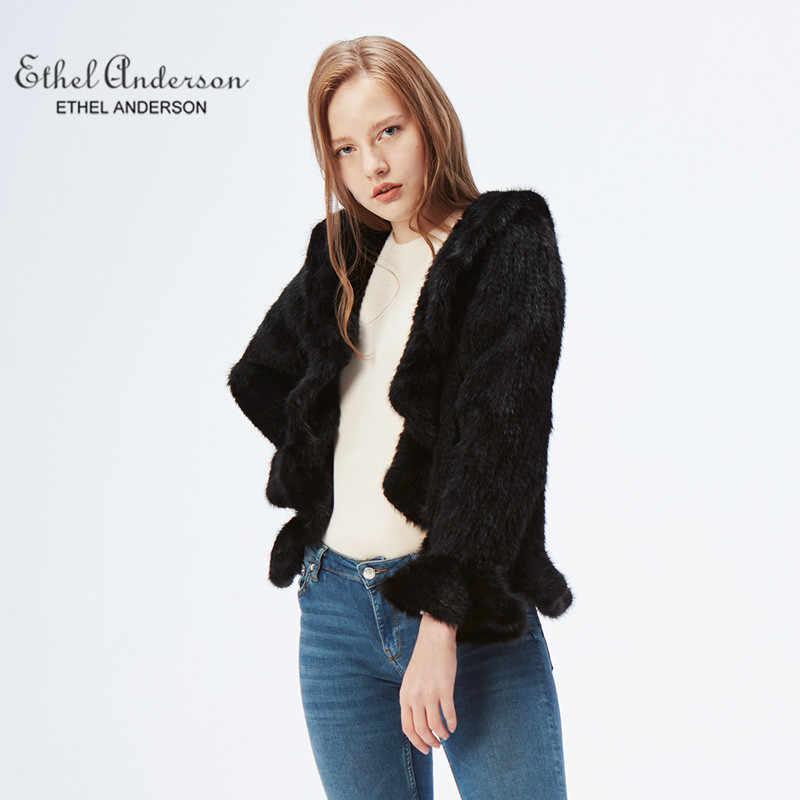 Ethel Anderson kadın ceketi 100% gerçek örme vizon kürk ceket kahverengi dış giyim yaka yaka uzun kollu ince stil