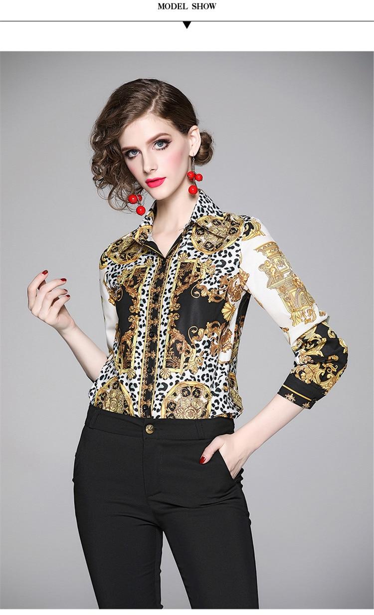 Elegant Leopard Print Women Blouse Shirt 1