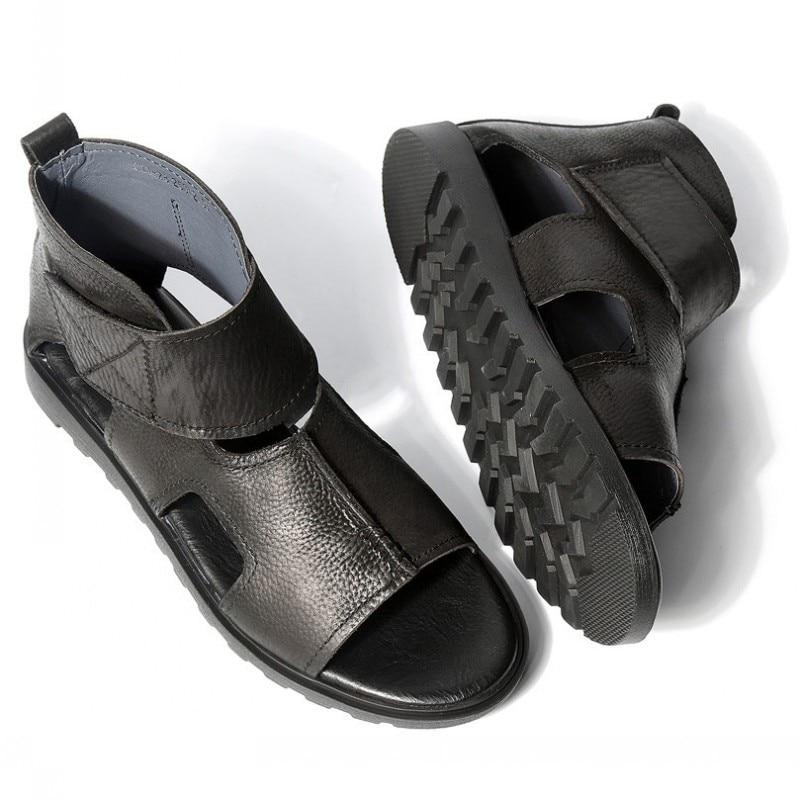 Brand Vintage Real Leather Sandals Men Breathable Summer Hollow Black Shoes Designer Leisure Rome Sandals Ankle Boots Flats