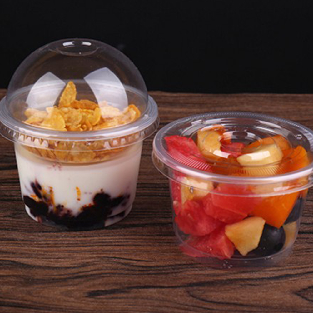 25pcs 250ml Disposable Salad Cup Transparent Plastic Dessert Bowl Container With Lid For Bar Cafe Home (Dome Lid With Hole)