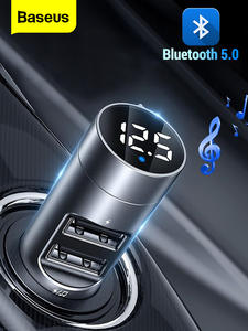 Baseus FM Transmitter Car Wireless Bluetooth 5.0 FM Radio Modulator Car Kit 3.1A USB Car Charger Handsfree Aux Audio MP3 Player