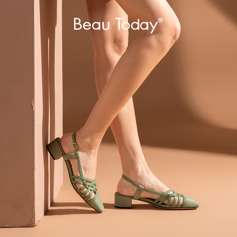 BeauToday Sandals Women Cow Suede Weaving Leather Cover Toe Slingback Buckle Strap Summer Lady Med Heel Shoes Handmade 31121 1