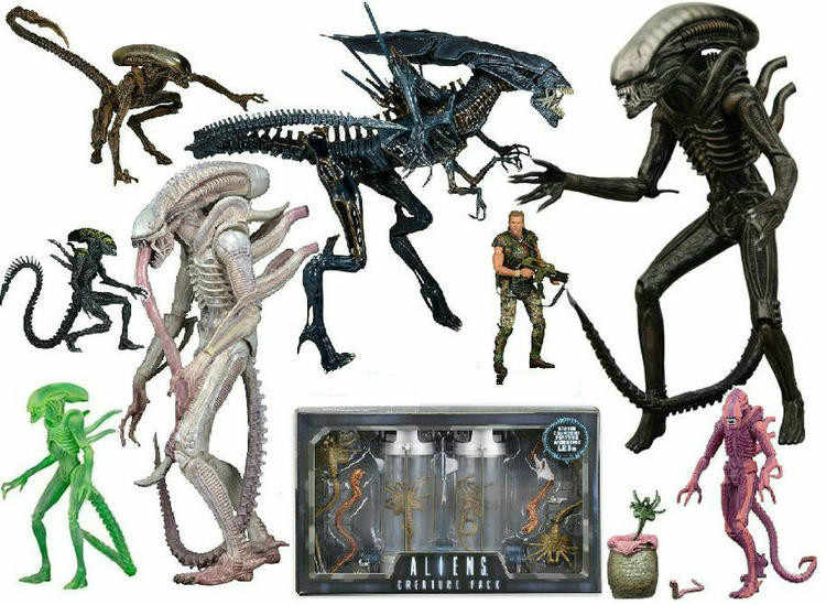 Neca Alien Xenomorph/Prajurit/Grid Anjing Alien PVC Action Figure Collectible Model Mainan