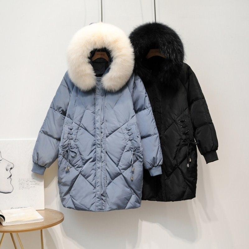 High Quality Real Fox Fur Collar   Down   Jacket Warm Thick Supernatural Outwear New Woman Jacket Women Winter Ultra Light   Down     Coat