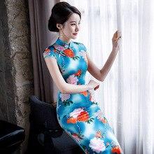 Cheongsam wiosną i latem 2020 z krótkim rękawem długa z nadrukiem suknia w stylu qipao jedwabiu w stylu chińskim strój Tang kobiet