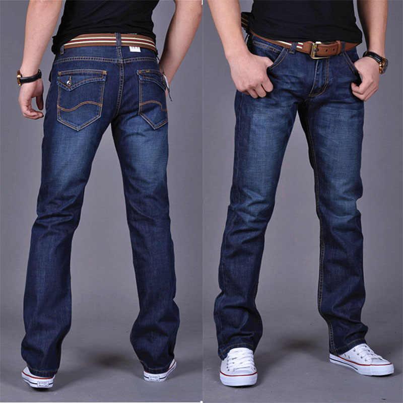 Heren Jeans Classic Straight Denim Jeans Met Ritsen Geplooide Slanke Blauw Zwart Jean Mannen Bekrast Lange Broek Broek
