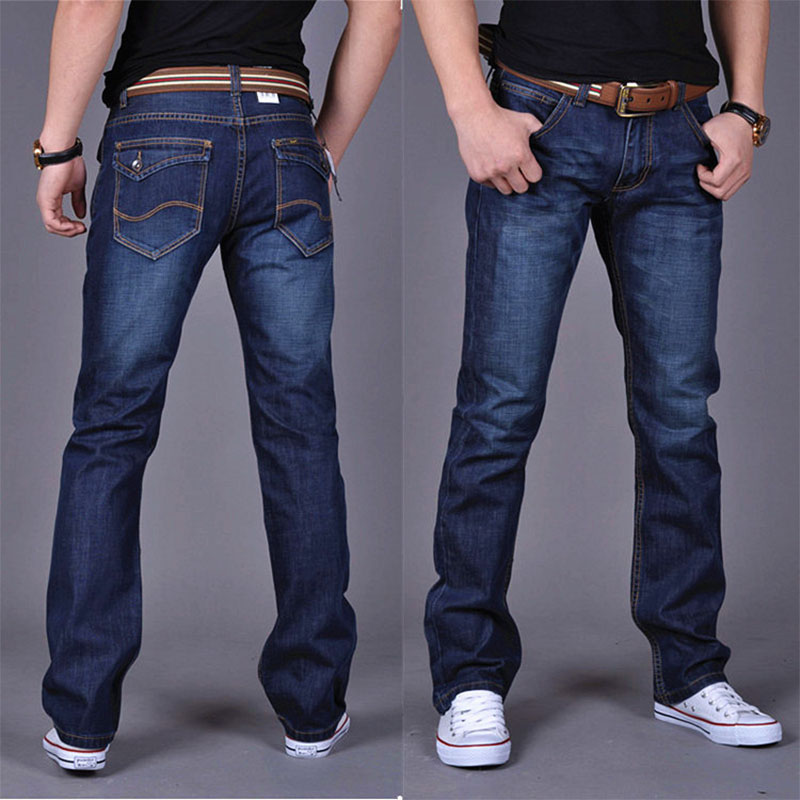Mens Jeans Trousers Long-Pants Pleated Classic Scratched Zippers Black Blue Straight title=
