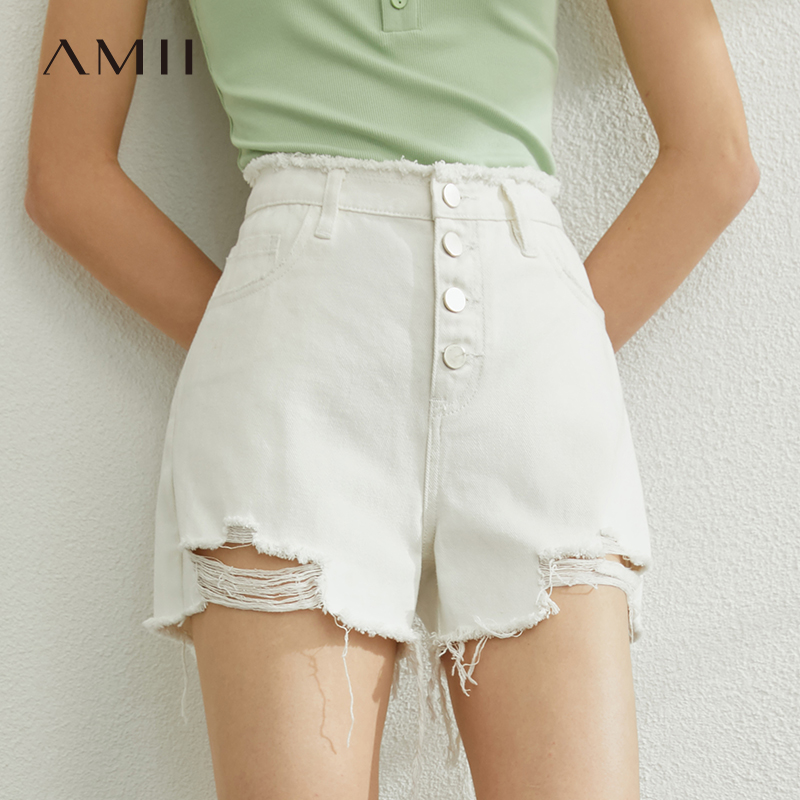 AMII Minimalism Spring Summer Solid Hollow Out Women Shorts Causal High Waist Loose Shorts 12070173