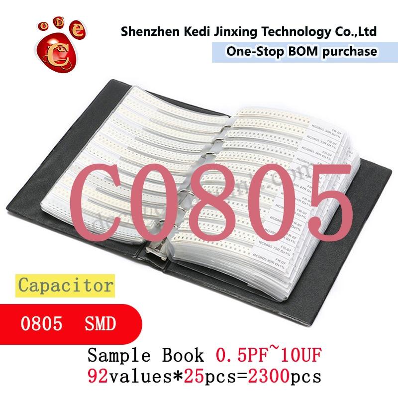 0805 SMD конденсатор с алюминиевой крышкой, книга с образцами 92valuesX25pcs = 2300 шт. 0.5PF ~ 10 мкФ набор различных конденсаторов пакет