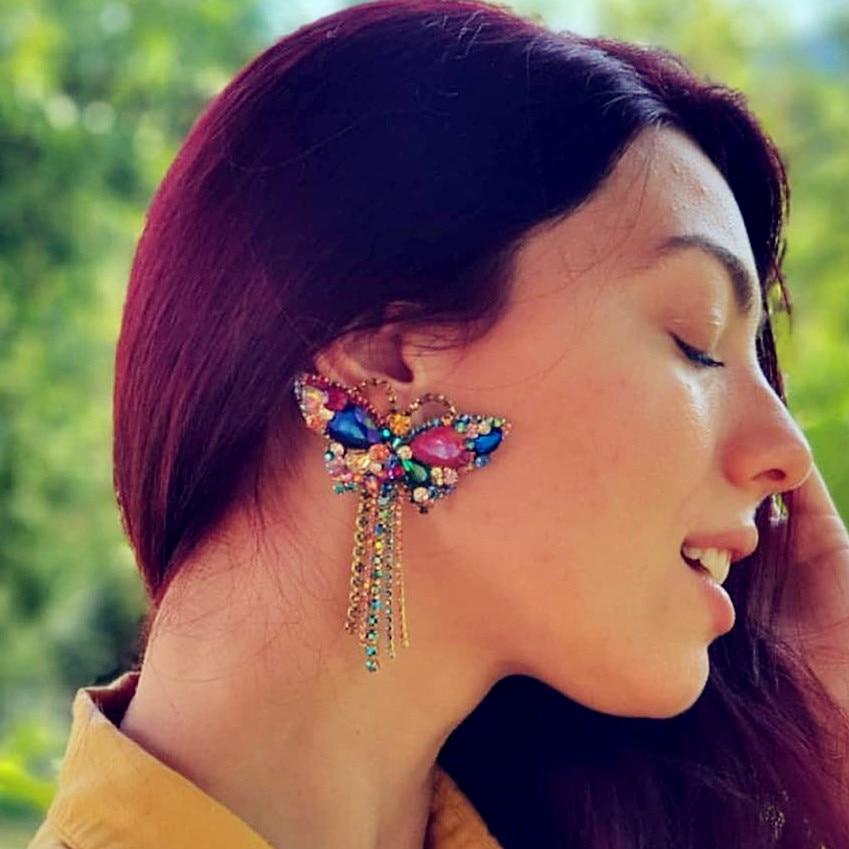 JIJIAWENHUA New Multicolor Rhinestone Butterfly Design Dangle Earrings Women's Jewelry Hot Sale Trendy Collection Earrings