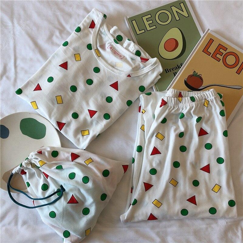 2020 Spring New Style Cloth Bag Pajamas Women Long Sleeve Trousers Storage Bag Three-piece Set Pajamas Southeast Asia