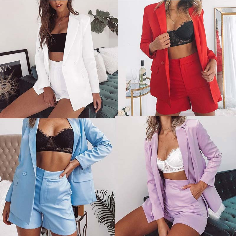 Plus Size Elegant Office Lady Suit Short Pants Women Jacket Blazer Top High Waist Mini Shorts Suits Casual Work Wear 2 Piece Set