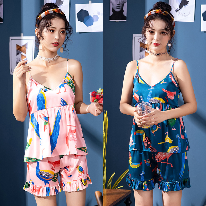 Yao Ting Toucan Silk Pajamas Women's Summer Suspender Shorts Two-Piece Set Homewear Set Dt1346