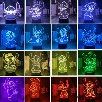 Disney Lilo Stitch Anime Figures 3D Night Lights 7 Color Changing Ohana Toys Decor Home Model Cute Doll Collectible Action Figma