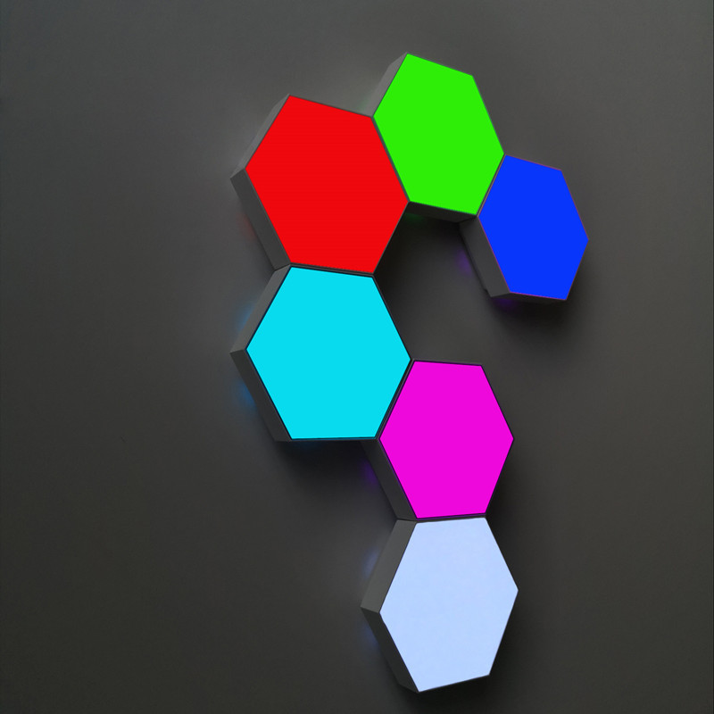 Colorful RGB USB Quantum Led Wall Lamp Splicing Hexagonal LED Home Light Remote Control Touch Control Wall Honeycomb Lamp Gifts