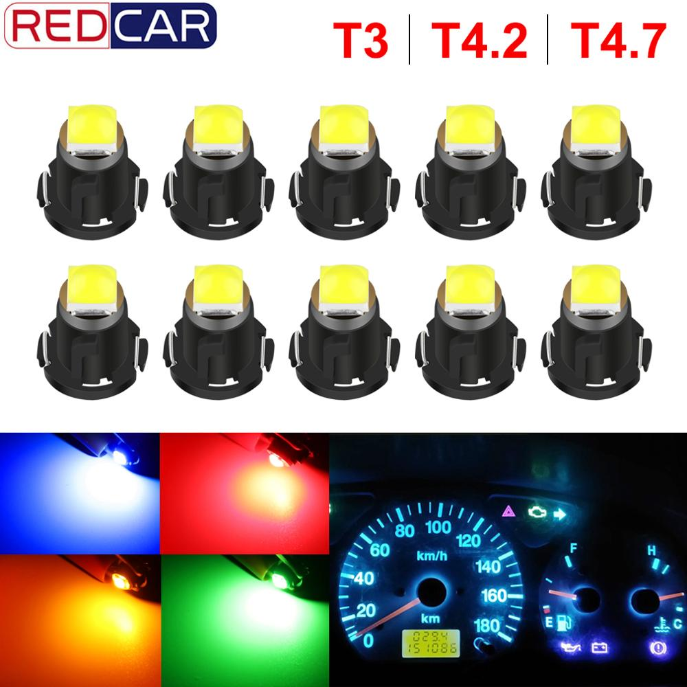 10pcs T3 LED 3030 SMD Led Bulb T4.2 T4.7 Indicator Light Bulb Car Dashboard Warning Indicator Light Instrument Lamp Auto Lamp