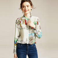 Spring Sweet Print Pure Silk Blouse Women Long Sleeve Shirts Loose Office Ladies Elegant Tops Fashionove 2020 New Clothes Chic