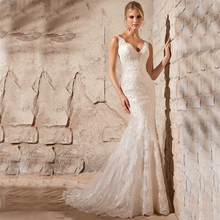 Vnaix WV493 Deep V Neck Spaghetti Straps with Open Back Sexy Tulle Lace Mermaid Wedding Dresses Bridal Gown 2016