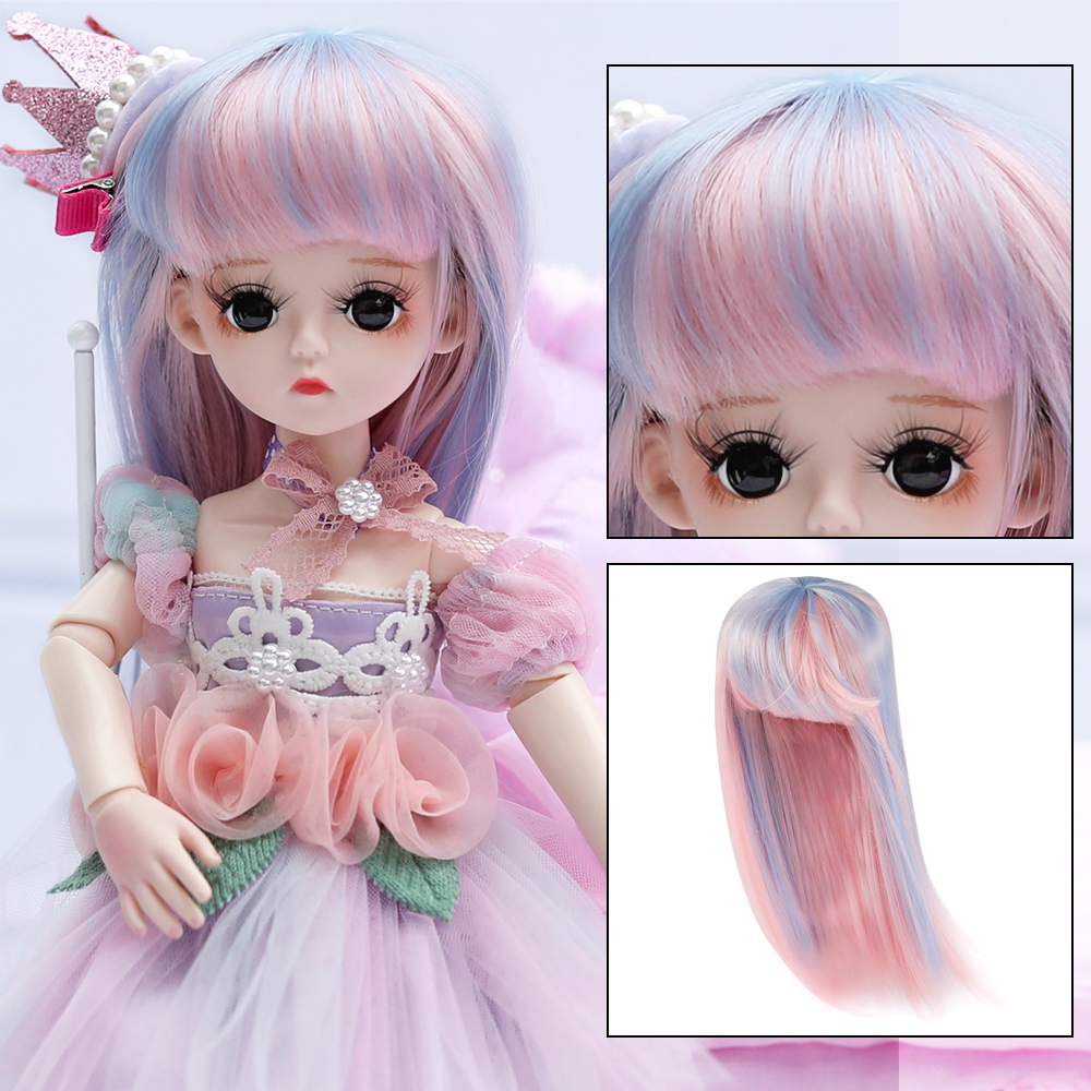 UCanaan 1/6 BJD Wig 30CM Dolls Hair Accessories Doll Outfits For Girls DIY Dress UP Girl Toys Accessories