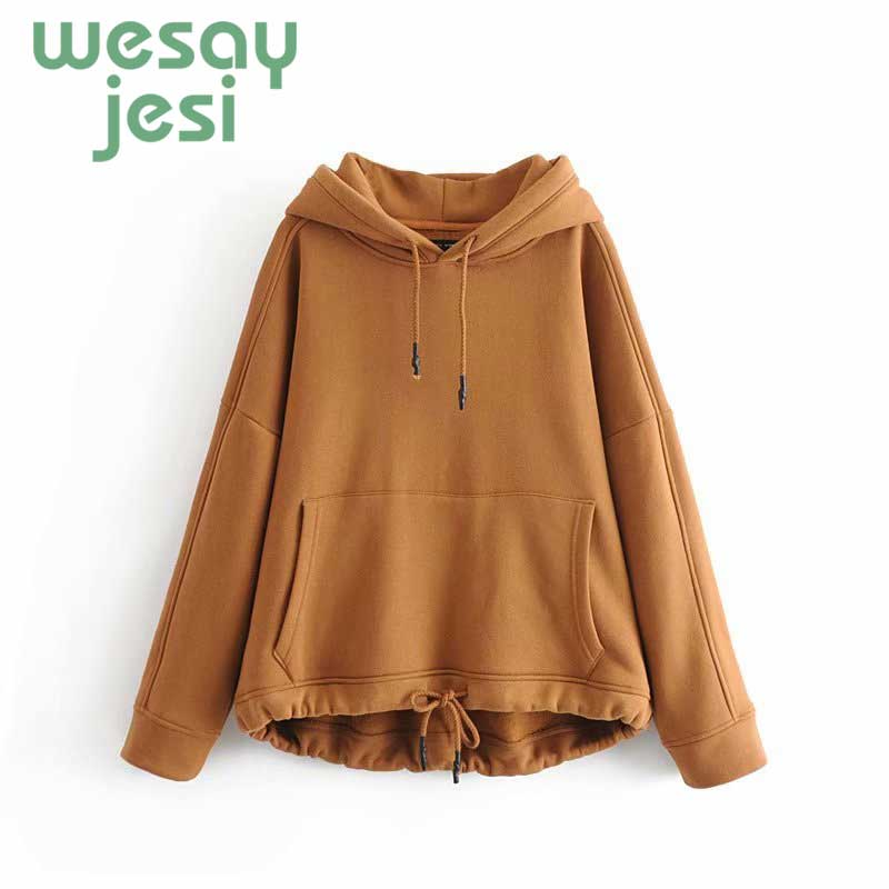 Women Harajuku Hoodies For Female Solid Hooded Tops Women's Sweatshirt Long-sleeved Autumn Winter Pullover Thickening Coat