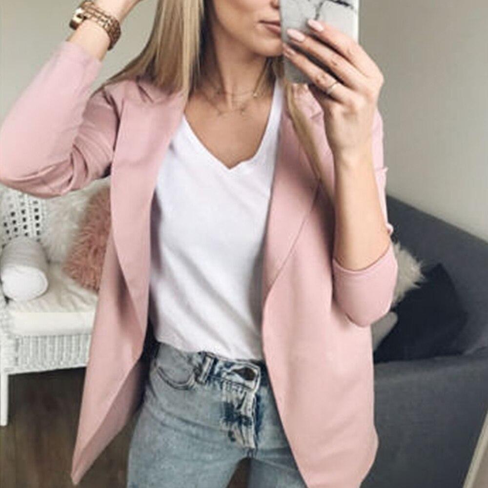 LOOZYKIT Fashion Women Casual Suit Coat Business Blazer Long Sleeve Jacket Outwear Ladies Black Pink Slim Blazer Coat 2019 News
