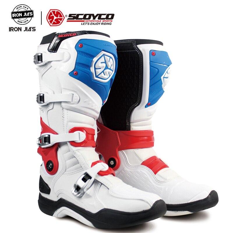 SCOYCO motocykl Motocross ATV buty Off-wyścigi drogowe mężczyźni buty Moto motocykl długie kolano wysokie bezpieczeństwo CE