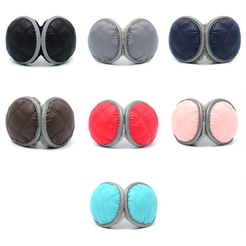 Unisex Waterproof Earmuffs With Reflective Strip Plush Lining Foldable Ear Cover 40JF