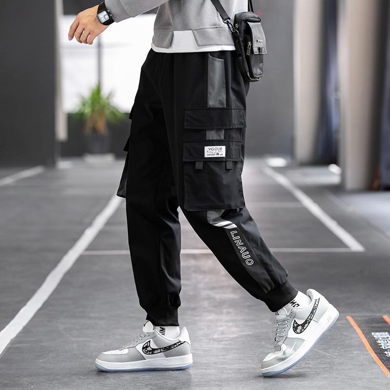 Hip Hop Ribbons Cargo Pants Men Joggers Pants Mens Streetwear Military Pants 2021 Fashion Male Elastic Waist Pant Cotton Black