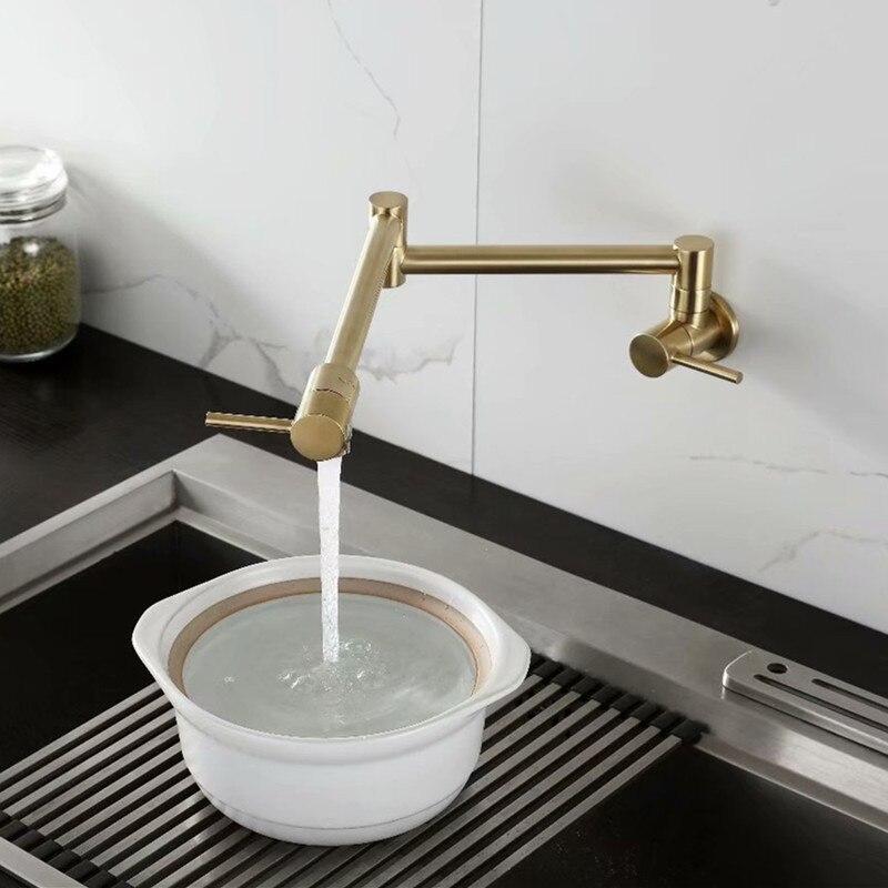 Rolya robinet de remplissage de Pot froid simple en laiton massif robinet de cuisine mural ti-golden - 2