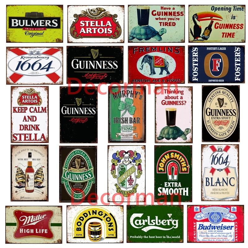 [ Mike86 ] Custom Guinness Miller Stella Beer Metal Sign Shabby Chic Retro Tortoise Woodpecker Wall Painting 20*30 CM LTA-1698