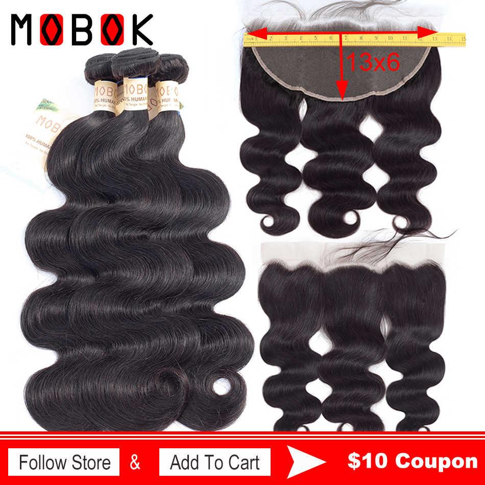 Mobok brasileño cuerpo Onda 3 mechones Frontal mechones de cabello humano postizo con cierre no Remy 13*6 Frontal de encaje con mechones