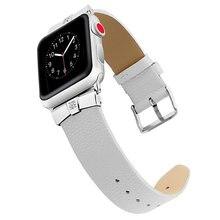 Ремешок из коровьей кожи для apple watch band 42 мм 44 сменный