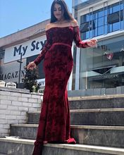 Robe De Soiree Lace Sexy Mermaid Evening Dress Off The Shoulder Long Sleeve V  Dresses Womens Gown