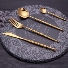 Золото 304 нержавеющая сталь нож и вилки Западная посуда для
