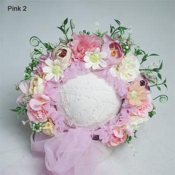 0-10 Yrs Newborn Floral Bonnet Baby Adult Family Flower Hat Photography Parent-child Garden Simulation Flower Cap Photo Props - pink 2, 0-1 Months
