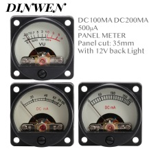 1 medidor de PANEL VINTAGE DC 100mA 200mA 500uA VU amperímetro con 12V luz de fondo cálida para 300B KT88 EL34 AMPLIFICADOR DE DIY