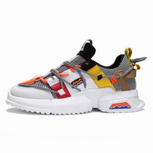 купить New men's shoes breathable black and white stitching color mesh casual wear non-slip shoes design men's shoes по цене 1017.35 рублей