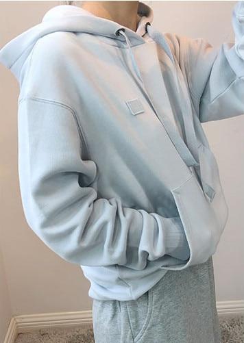 Woman Hoodie Casual Loose Hoodie Plus Velvet Pullover Lady Solid Color Sweatshirt