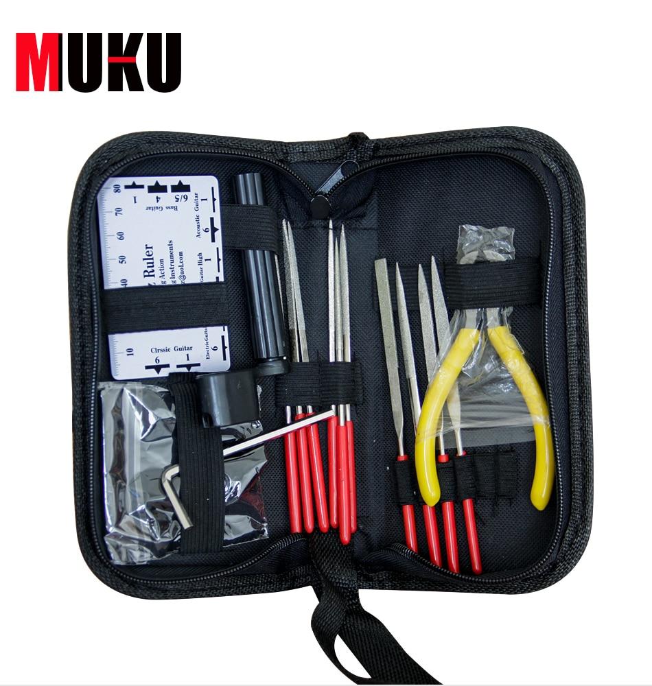 MUKU guitare outils professionnels 1 ensemble Kit d'allaitement Kit de réparation de guitare bakélite Kit de nettoyage de réparation de guitare fichier de poinçon de guitare