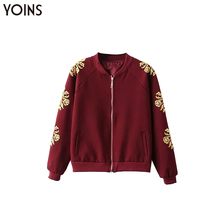 YONIS 2019 Autumn Winter Spring Women Bomber Jackets Burgundy Embroidery  Stand Collar Long Sleeves Casual Streetwear Overcoat burgundy stand collar long sleeves top with button details