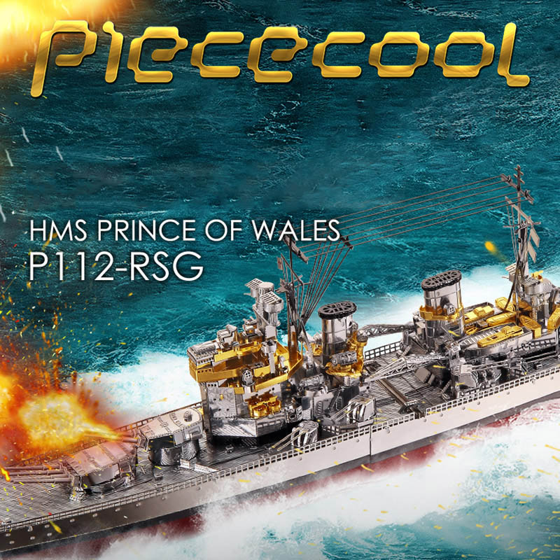 <font><b>3D</b></font> <font><b>Metall</b></font> Puzzle Spielzeug Montage Schiff <font><b>Modell</b></font> Puzzles Spiel HMS Prince Of Wales Lustige Geschenk image