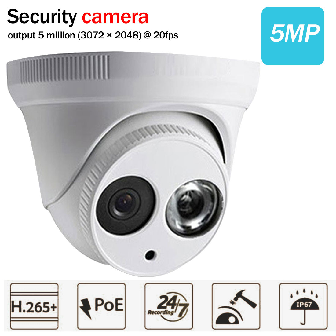WIFI Camera Metalen Shell 5MP Ingebouwde MICROFOON POE IR 50 M IP67 IK10 Ip Camera Vervangen IP Camera 5MP Camera