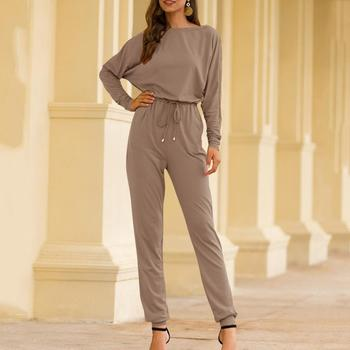 Casual Women Jumpsuit Fashion Loose Solid Color Long Sleeve O-Neck Spring Playsuit Overall With Sashes Monos de Fiesta 2020 E [eam] 2020 spring trendy new personality loose big size solid color half sleeve o neck jumpsuit women ya11601