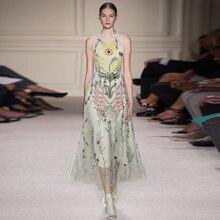 Женское модельное платье без рукавов gedivoen Сетчатое ТРАПЕЦИЕВИДНОЕ