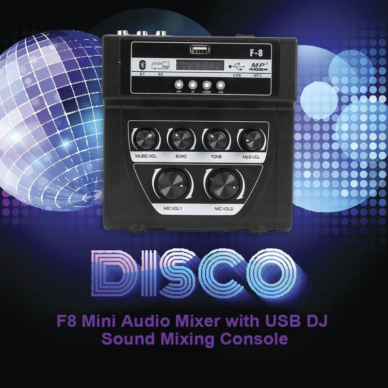 Portable F8 Mini Audio Mixer with USB DJ Sound Mixing Console for Karaoke Multi-function Practical Home Audio and Video Equipmen