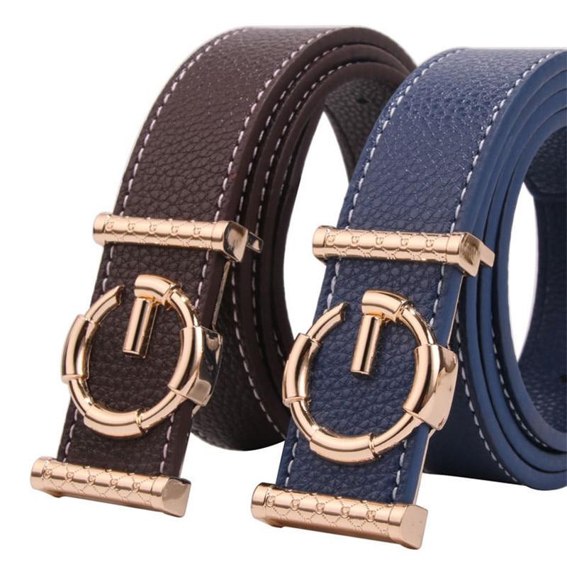 New Arrival Men Women Genuine Leather Belt,3.5cm Luxury G Gold Buckle Belt For Unisex