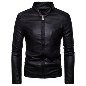 The New Spring and Autumn 2020 Men's Korean Version Slim-Fitting Stand-Up PU Leather Jacket