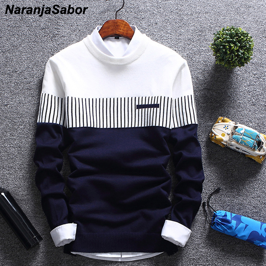 NaranjaSabor New Autumn Winter Pullover 2020 Men's Brand Clothing Wool Slim Knitted Sweater Men Casual Striped Pull Jumper N558